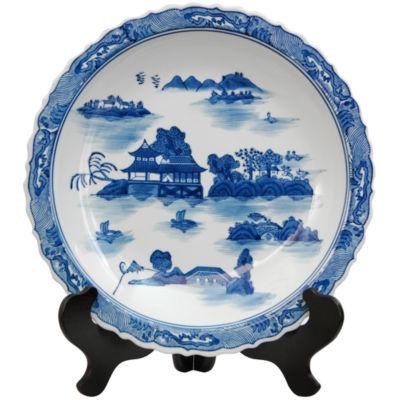 "Oriental Furniture 14"" Landscape Blue & White Porcelain Decorative Plate"