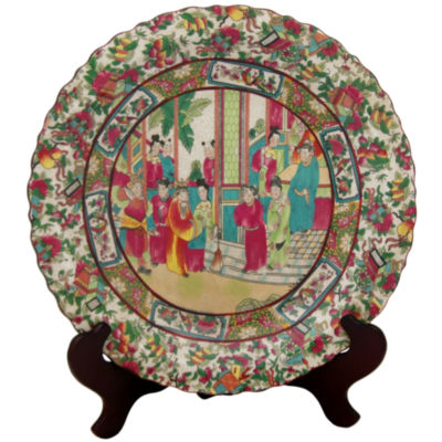 "Oriental Furniture 14"" Rose Medallion Porcelain Decorative Plate"