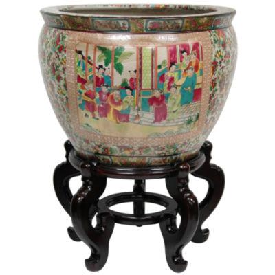 """Oriental Furniture 16"""" Rose Medallion Porcelain Planter"""