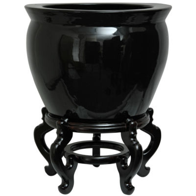 "Oriental Furniture 16"" Solid Black Porcelain Planter"