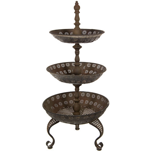 Oriental Furniture 3 Tier Iron Decorative Tray