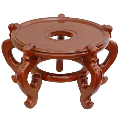 "Oriental Furniture Rosewood Fishbowl 15.5"" Base Diameter Plant Stand"