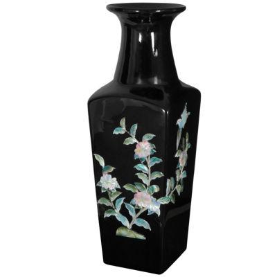 "Oriental Furniture 12"" Cherry Blossom Porcelain Vase"