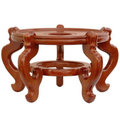 "Oriental Furniture Rosewood Fishbowl 8.5"" Base Diameter Plant Stand"