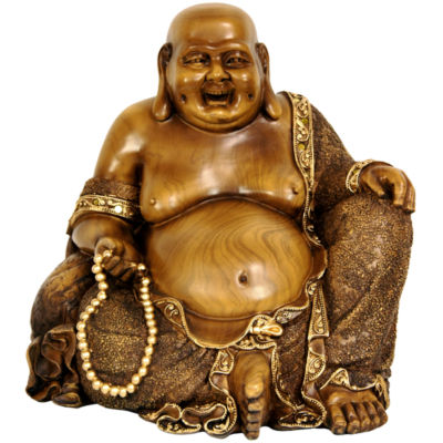 "Oriental Furniture 10"" Sitting Hotei Happy Buddha Figurine"