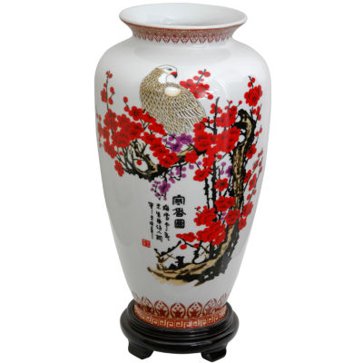"Oriental Furniture 14"" Cherry Blossom Porcelain Tung Chi Vase"