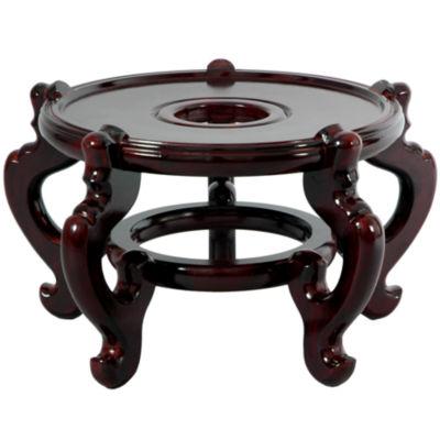 "Oriental Furniture Rosewood Fishbowl 11.5""  Base Diameter Plant Stand"