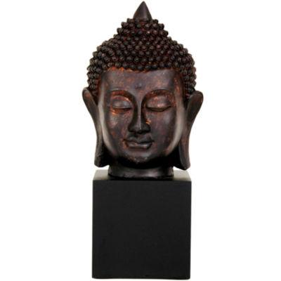 "Oriental Furniture 10"" Thai Buddha Head Figurine"