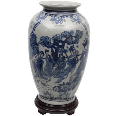 "Oriental Furniture 14"" Ladies Blue & White Porcelain Tung Chi Vase"
