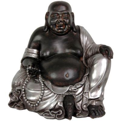 "Oriental Furniture 11"" Sitting Happy Buddha Figurine"