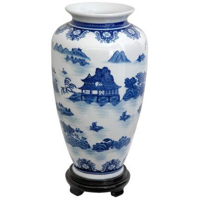 "Oriental Furniture 14"" Landscape Blue & White Porcelain Tung Chi Vase"