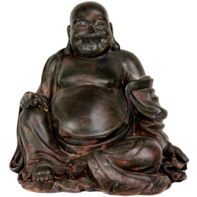 "Oriental Furniture 11"" Sitting Lucky Buddha Figurine"