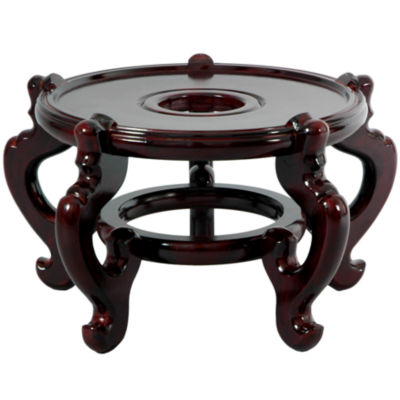 "Oriental Furniture Rosewood Fishbowl 9.5""  Base Diameter Plant Stand"