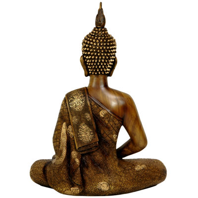 "Oriental Furniture 11"" Thai Sitting Buddha Figurine"