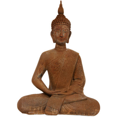 "Oriental Furniture 11"" Thai Sitting Zenjo-In Rust Patina Buddha Figurine"