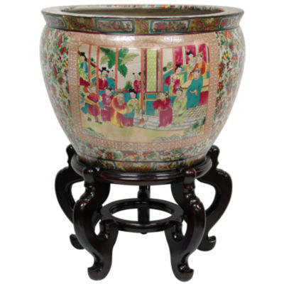 "Oriental Furniture 18"" Rose Medallion Porcelain Planter"