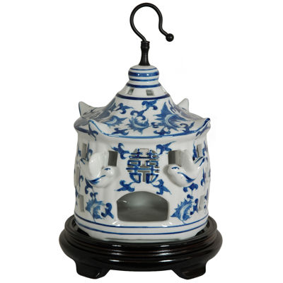 "Oriental Furniture 11"" Floral Blue & White Porcelain Bird Cage Figurine"