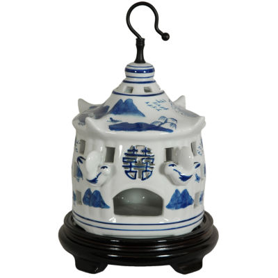 "Oriental Furniture 11"" Landscape Blue & White Porcelain Bird Cage Figurine"