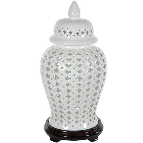 "Oriental Furniture 16"" Carved Lattice Decorative Vase"