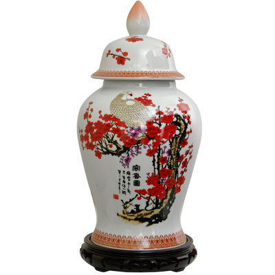 "Oriental Furniture 18"" Cherry Blossom Porcelain Vase"