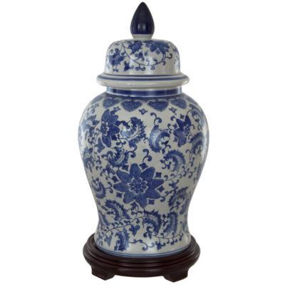 """Oriental Furniture 18"""" Floral Blue & White Porcelain Vase"""