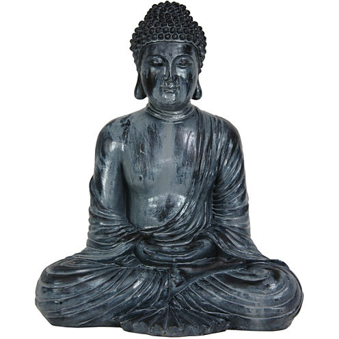 "Oriental Furniture 12"" Japanese Sitting Buddha Figurine"