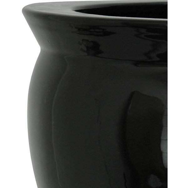 "Oriental Furniture 20"" Porcelain Black Planter"