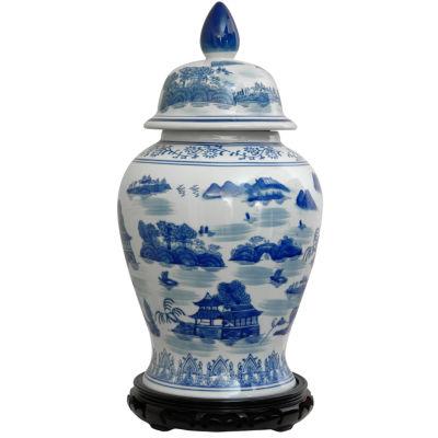 """Oriental Furniture 18"""" Landscape Blue & White Porcelain Vase"""