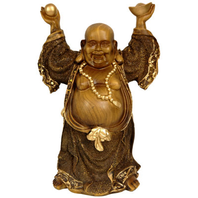 "Oriental Furniture 12"" Standing Prosperity Buddha Figurine"