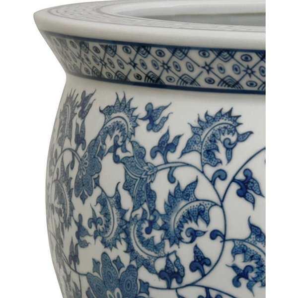 "Oriental Furniture 20"" Porcelain Blue & White Floral Planter"