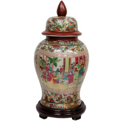 """Oriental Furniture 18"""" Rose Medallion Porcelain Vase"""