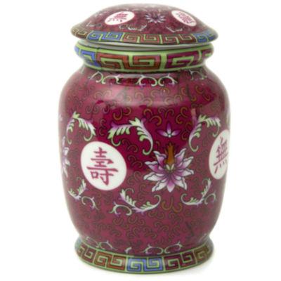 "Oriental Furniture 6"" Tang Fuchsia Tea Vase"