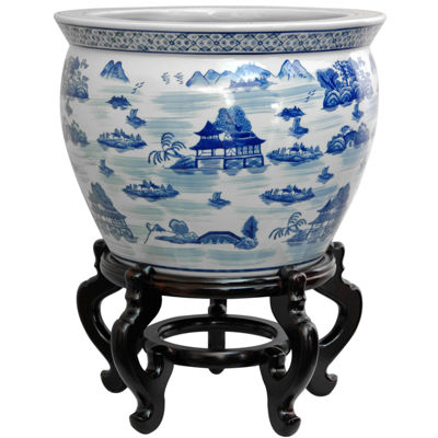 "Oriental Furniture 20"" Porcelain Blue & White Landscape Planter"