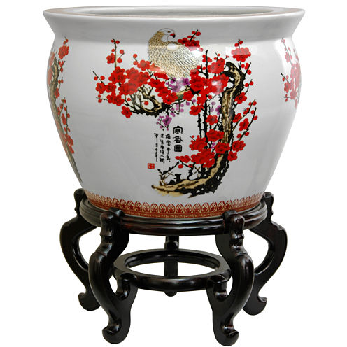 "Oriental Furniture 20"" Porcelain Cherry Blossom Planter"