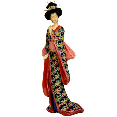 "Oriental Furniture 14"" Geisha Figurine With Pastel Sash Figurine"