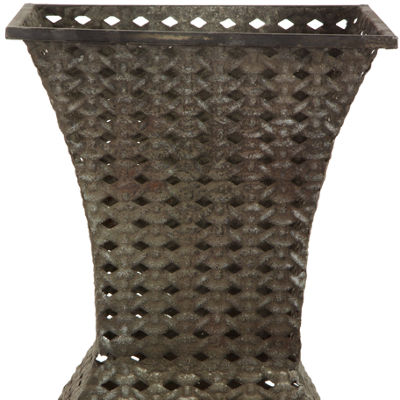 Oriental Furniture Wrought Iron Decorative Square Vase