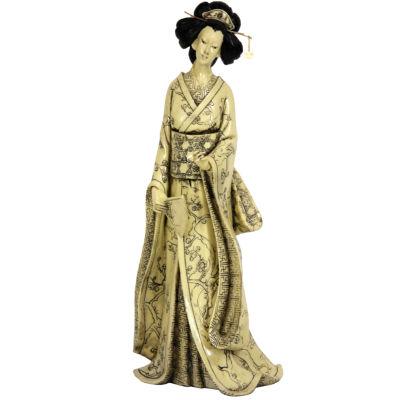 "Oriental Furniture 14"" Geisha Figurine With Plum Tree Kimono Figurine"
