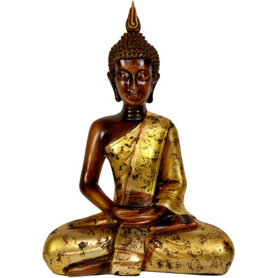 "Oriental Furniture 16"" Thai Sitting Buddha Figurine"