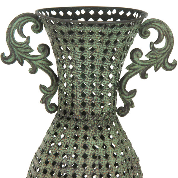 Oriental Furniture Wrought Iron Perforated Floral Vase