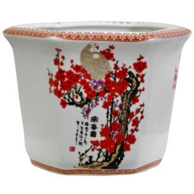 "Oriental Furniture 10"" Cherry Blossom Porcelain Planter"