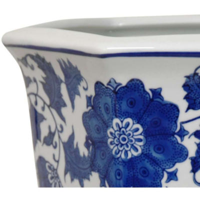 "Oriental Furniture 10"" Floral Blue & White Porcelain Planter"