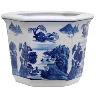 "Oriental Furniture 10"" Landscape Blue & White Porcelain Planter"