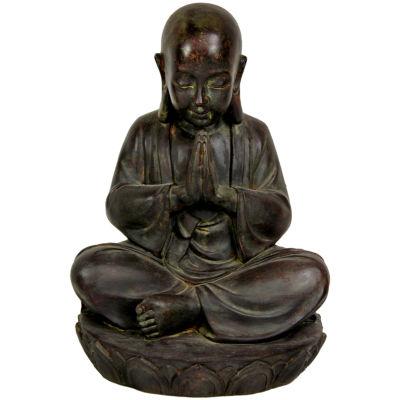 """Oriental Furniture 16"""" Sitting Japanese Zen Monk Figurine"""