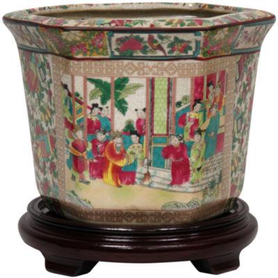 """Oriental Furniture 10"""" Rose Medallion Porcelain Planter"""