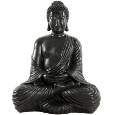 "Oriental Furniture 17"" Japanese Sitting Buddha Figurine"