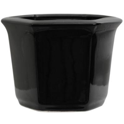 """Oriental Furniture 10"""" Solid Black Porcelain Planter"""