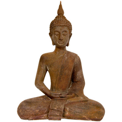"Oriental Furniture 17"" Thai Sitting Zenjo-In Rust Patina Buddha Figurine"