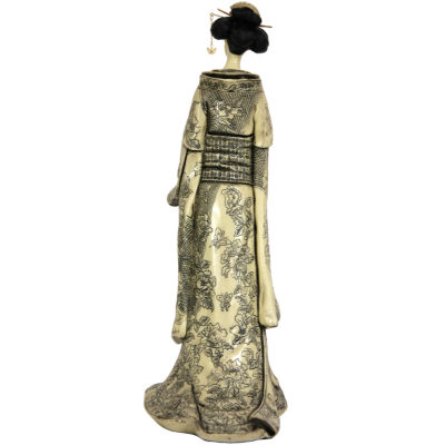 "Oriental Furniture 17"" Geisha Figurine With Small Bow Kimono Figurine"