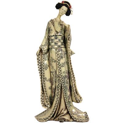 "Oriental Furniture 18"" Geisha Figurine With Bamboo Tree Kimono Figurine"