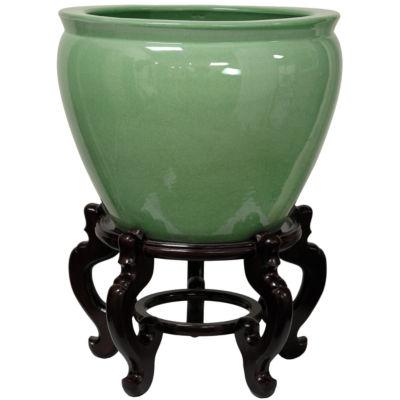 "Oriental Furniture 14"" Celadon Porcelain Planter"